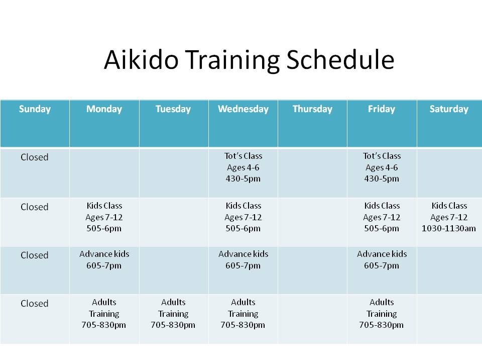 Aikido Training Schedule